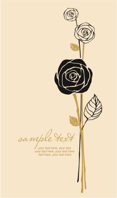 漂亮手绘玫瑰花背景素材