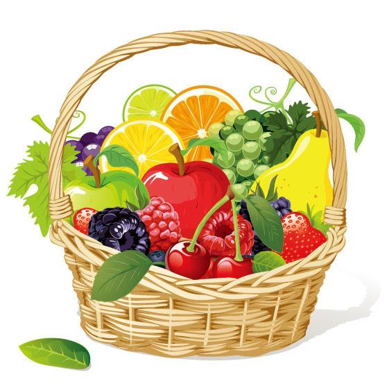 水果篮子矢量素材