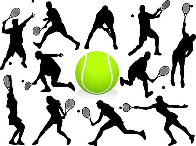 网球运动人物动作剪影矢量图免费下载-千图网www.58.