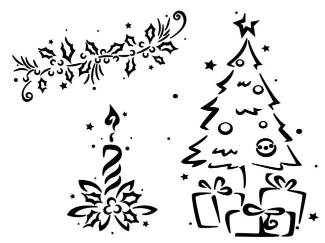 圣诞树线条剪影