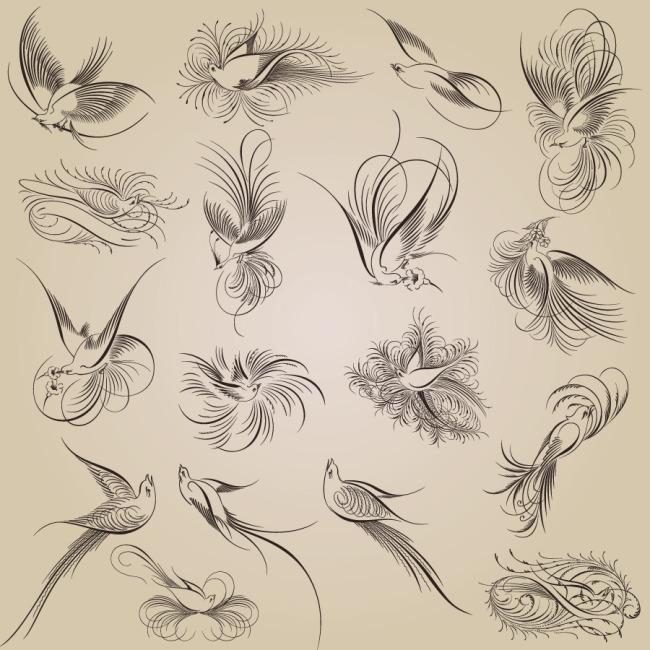 藤蔓线稿常见动植物简笔画-藤蔓线稿