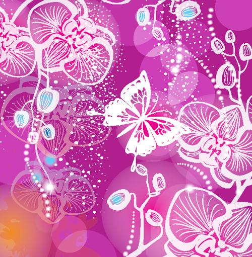 绚丽蝴蝶花朵手绘
