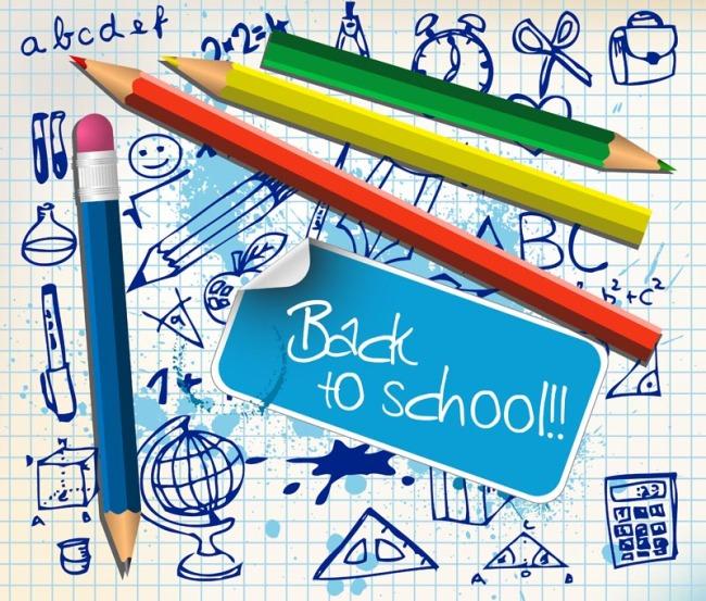 彩铅 文具 可爱 手绘 线稿 绘画 涂鸦 办公用品 校园 学生 闹钟 三角