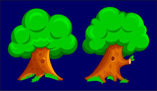 可爱卡通大树