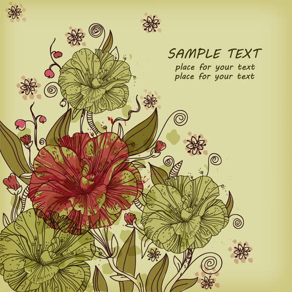 复古手绘花卉背景矢量图