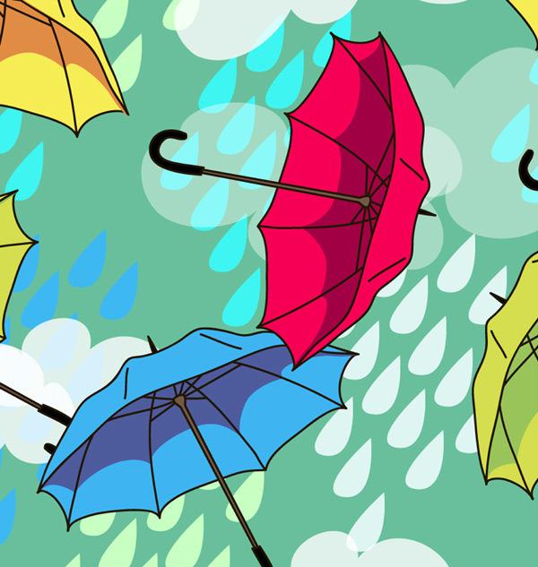 手绘插画雨伞