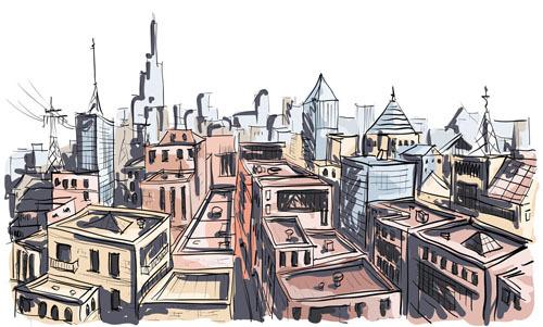 城市房屋手绘图