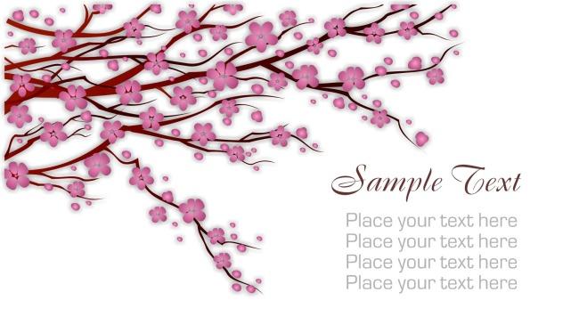 桃花彩铅手绘图