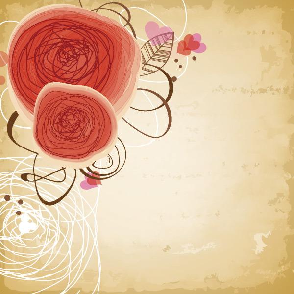 矢量花纹玫瑰手绘线条花纹