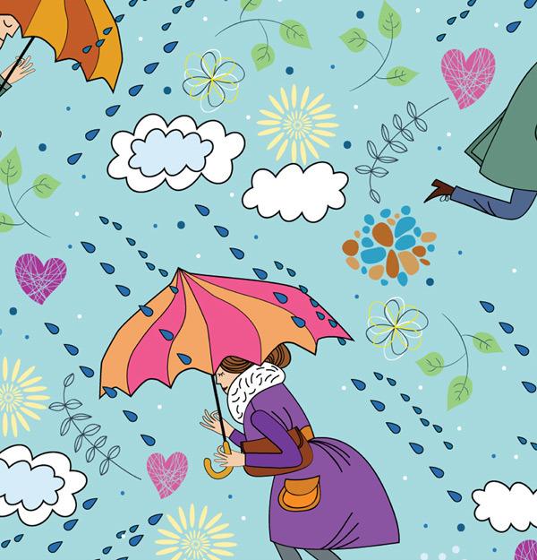 矢量手绘插画雨伞背景图