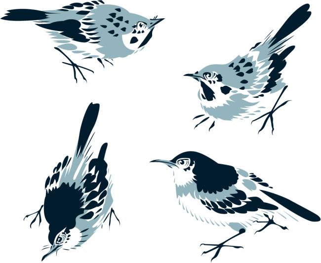 矢量素材传统中式水墨画小鸟矢量图免费下载-千图网.