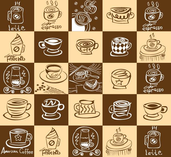 矢量素材咖啡元素手绘稿