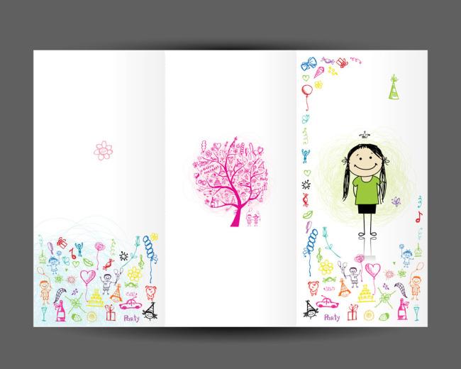 矢量素材手绘卡通生日卡片