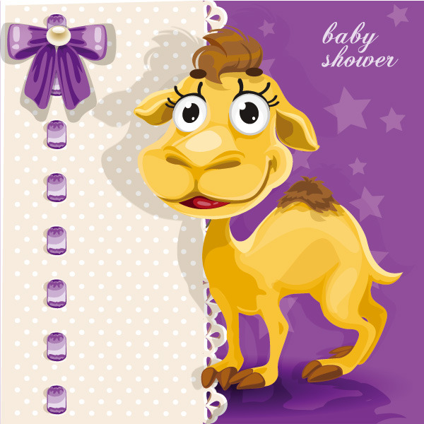 超萌 卡通动物 卡片 骆驼