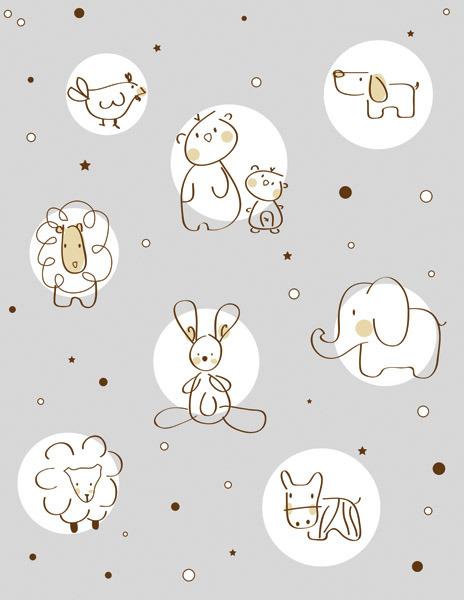 矢量素材卡通可爱线描动物