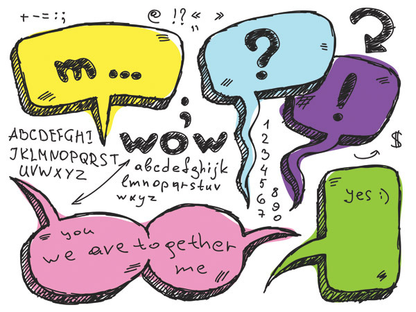 矢量素材手繪彩色對話框