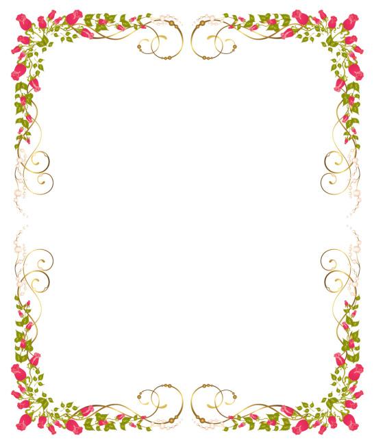 矢量素材玫瑰花朵边框
