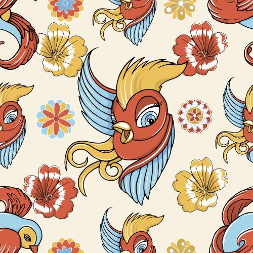 矢量手绘彩色爱情鸟
