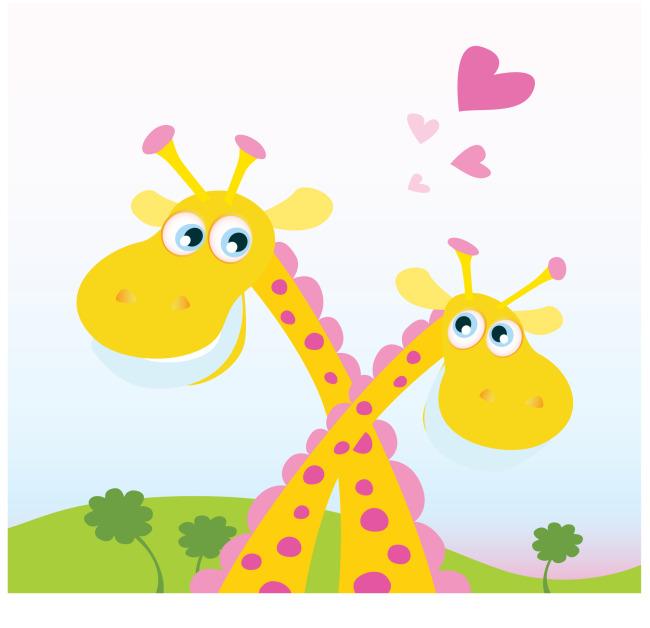 矢量可爱卡通长颈鹿