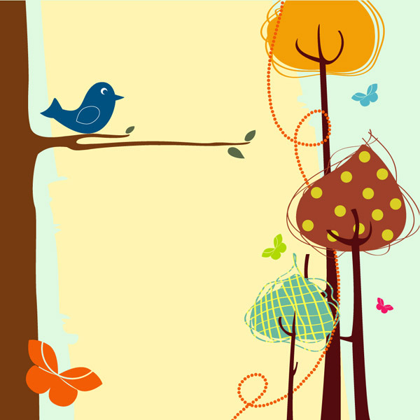 矢量简单手绘枝头小鸟