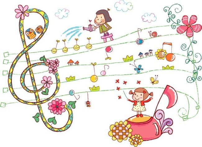 矢量素材卡通小孩音乐背景