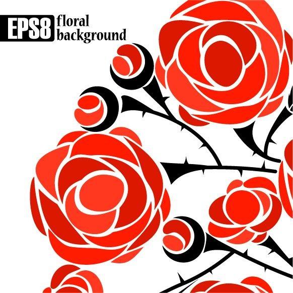 矢量素材带刺玫瑰花朵花苞