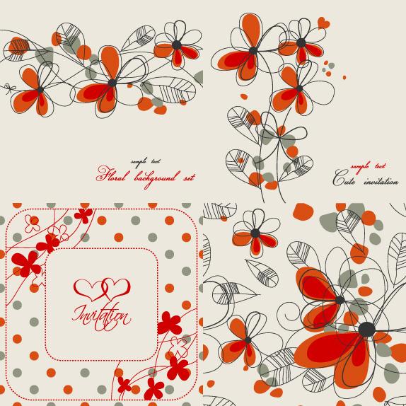 彩色花卉 画稿背景 花枝 叶子 手绘背景图片素材