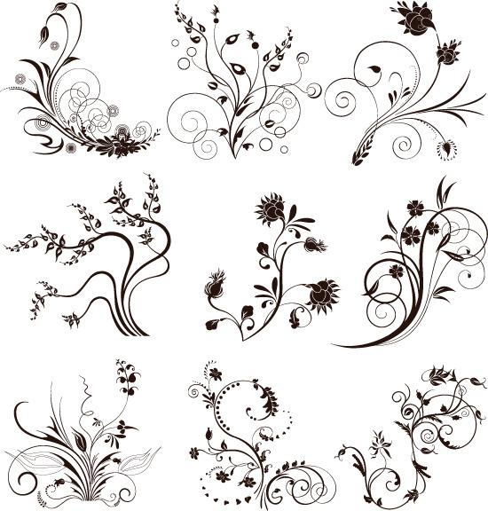 黑白线条 卷曲花枝 纹样 花纹 花卉 枝叶花边图片素材