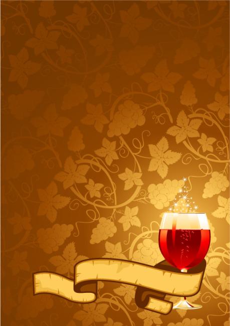 矢量素材葡萄酒丝带背景