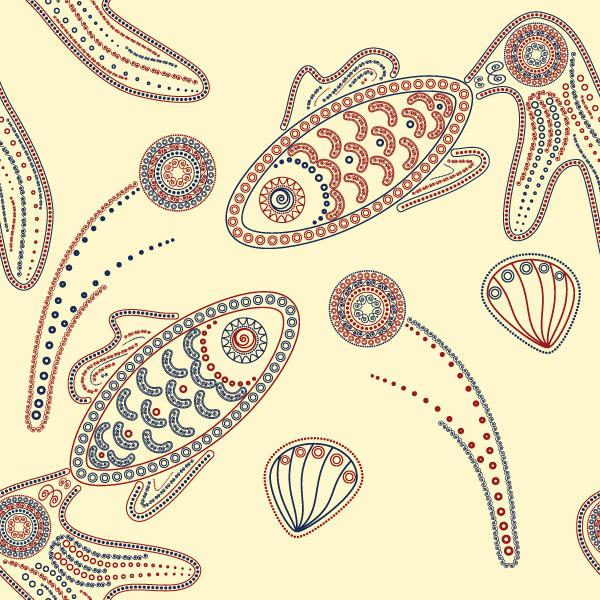 矢量手绘鱼花纹背景