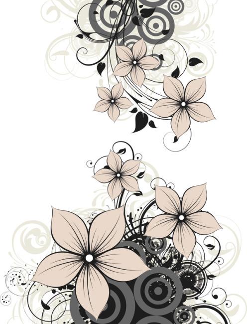 矢量植物花卉手绘插画