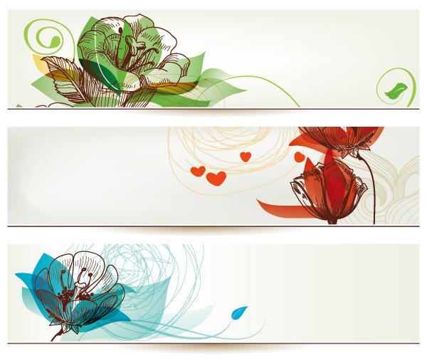 矢量彩色鲜花手绘线稿背景