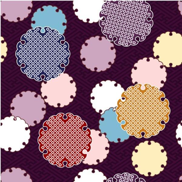 矢量彩色日式花纹手绘背景