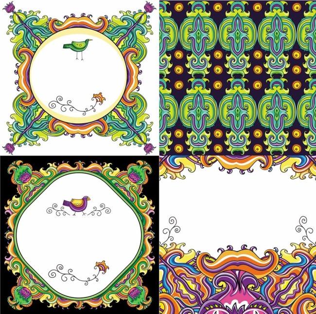 矢量素材彩色装饰抽象图案背景