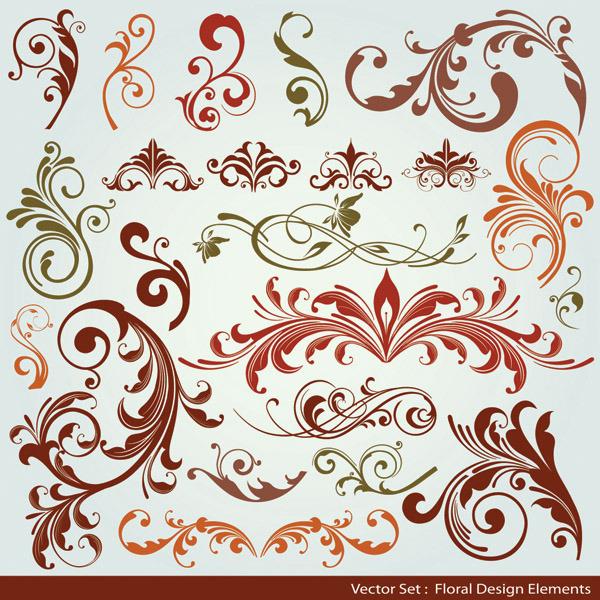 矢量素材欧式简约线条花纹