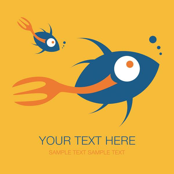 矢量可爱卡通鱼类背景