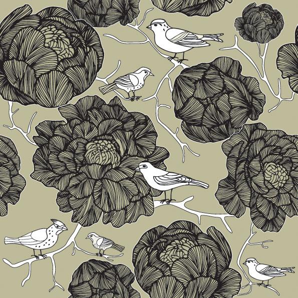 矢量素材黑白线描花朵小鸟背景