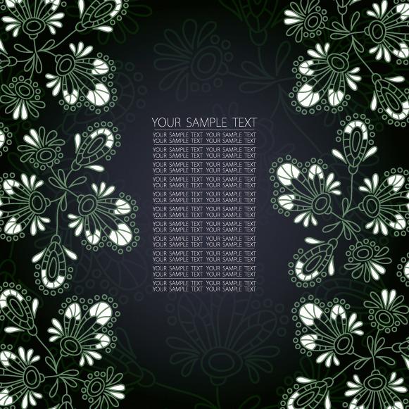 矢量花朵黑白背景手绘底纹