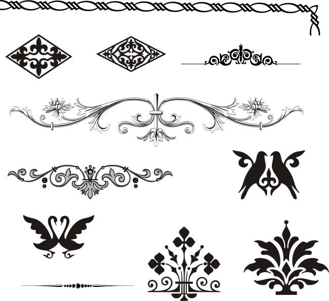 矢量素材欧式边角古典花纹图片