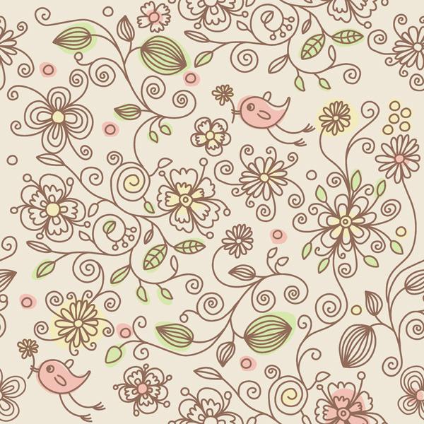 矢量素材可爱花纹手绘背景