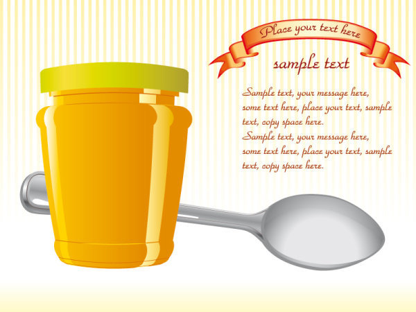 精美蜂蜜罐子矢量素材