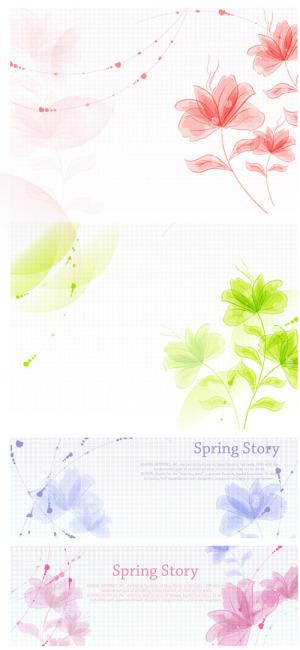 矢量素材淡雅的手绘花卉背景