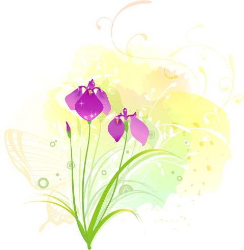 矢量手绘花朵线描背景
