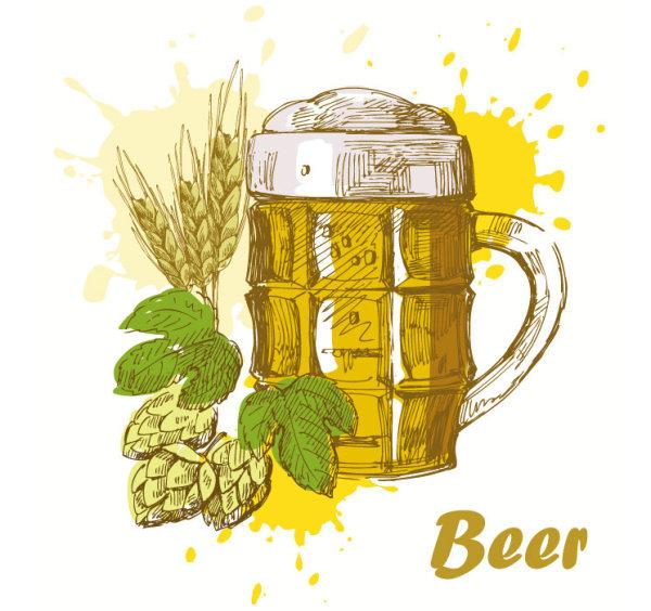矢量啤酒手绘插画矢量图