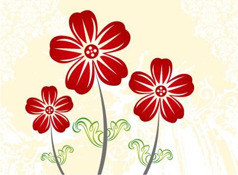 矢量素材手绘线描花朵