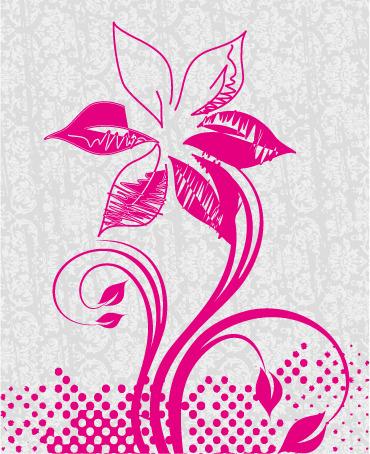矢量素材手绘简约花朵素描