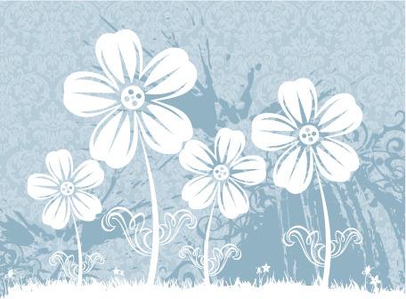 矢量素材简单手绘花卉背景
