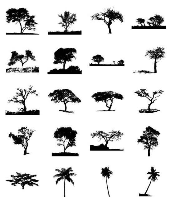 精美树木剪影矢量素材矢量图免费下载 千图网
