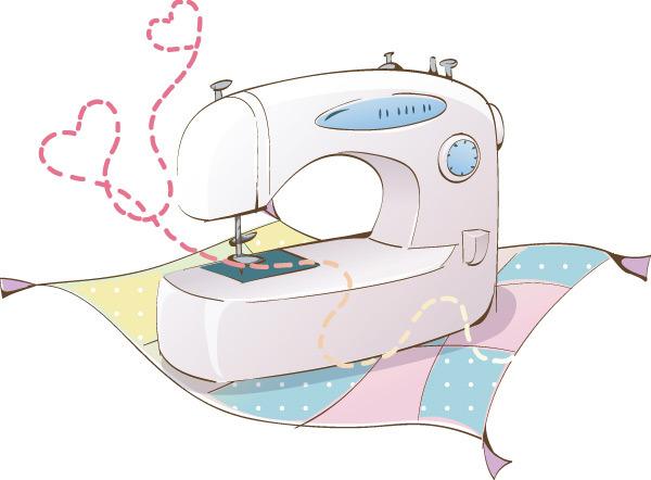 手绘电器 卡通电器 缝纫机