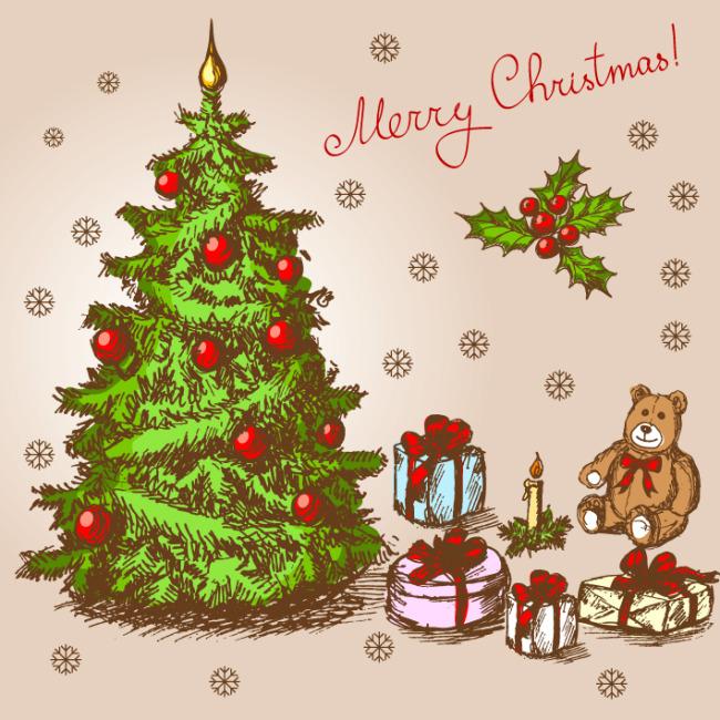 矢量素材手绘圣诞树插画背景
